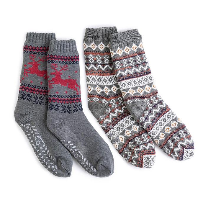 totes Mens Sherpa Lined Fair Isle Slipper Socks | totes ...