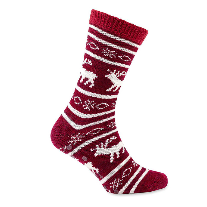 totes toasties Mens Reindeer Fair Isle Slipper Socks Burgundy
