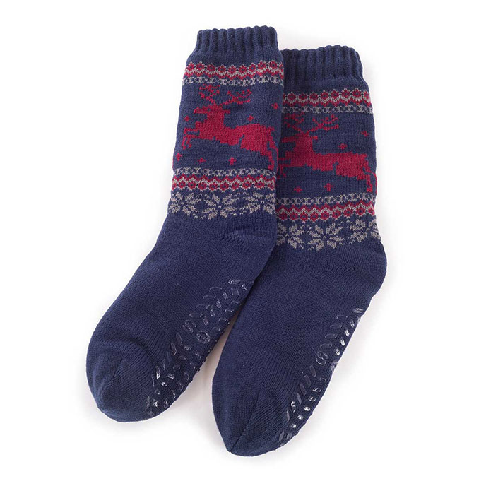 totes Mens Sherpa Lined Fair Isle Slipper Socks Navy
