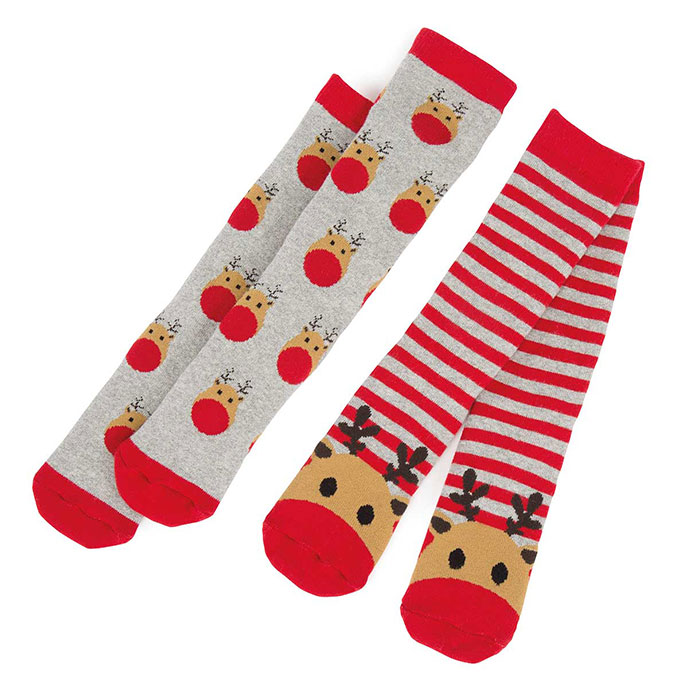 totes Unisex Kids Novelty Slipper Socks (Twin Pack) Reindeer