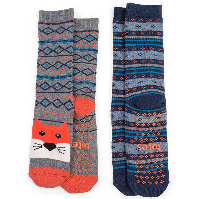 totes Boys Slipper Socks (Twin Pack) Fox / Fair Isle