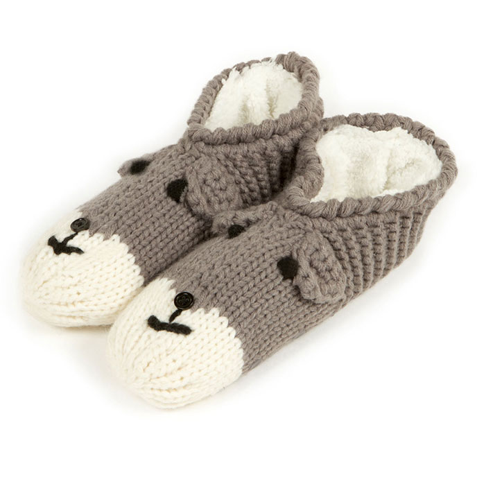 totes Ladies Novelty Hand Knit Footsie Slipper Socks Grey Dog SmallMedium (UK 35)