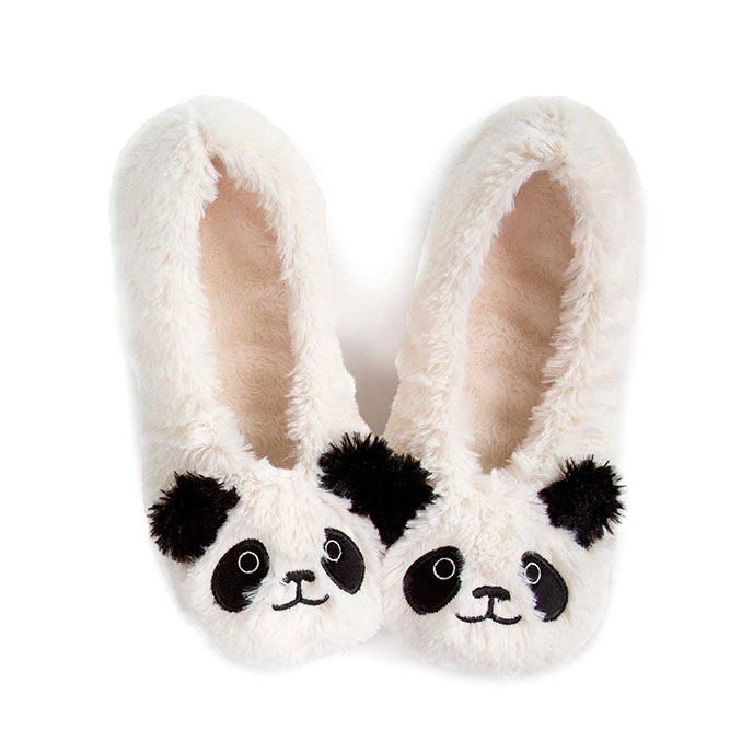 totes Ladies Novelty Knit Footsie Slipper Socks Cream Panda