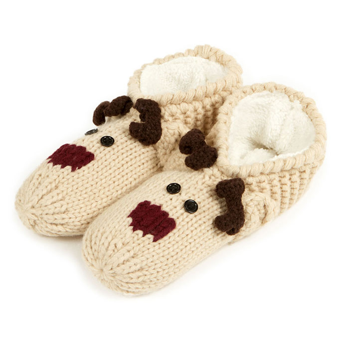 totes Ladies Novelty Hand Knit Footsie Slipper Socks Beige Reindeer
