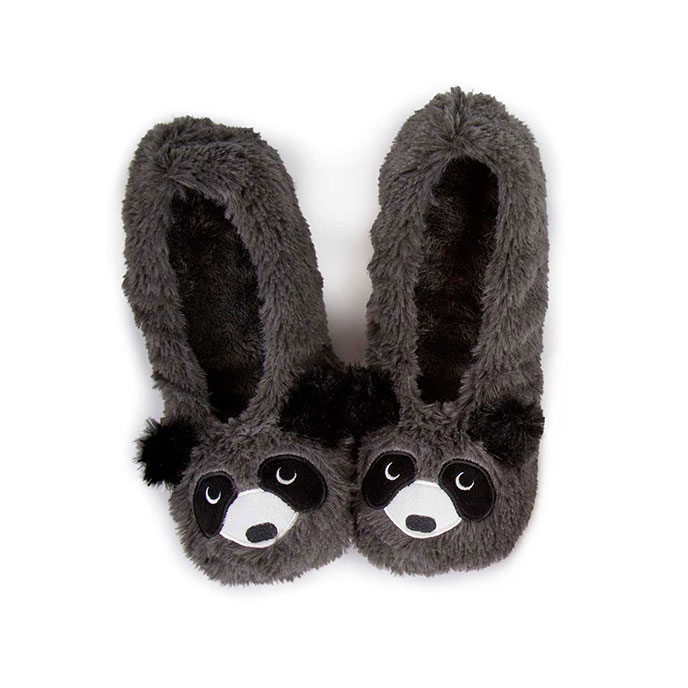 totes Ladies Novelty Knit Footsie Slipper Socks Grey Racoon MediumLarge (UK 68)
