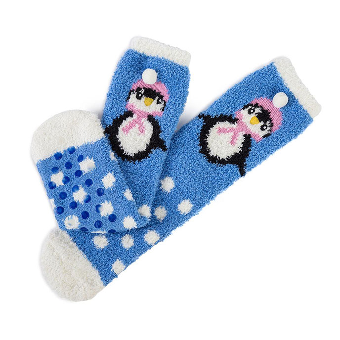 totes Ladies Novelty Cosy Socks Blue Penguin