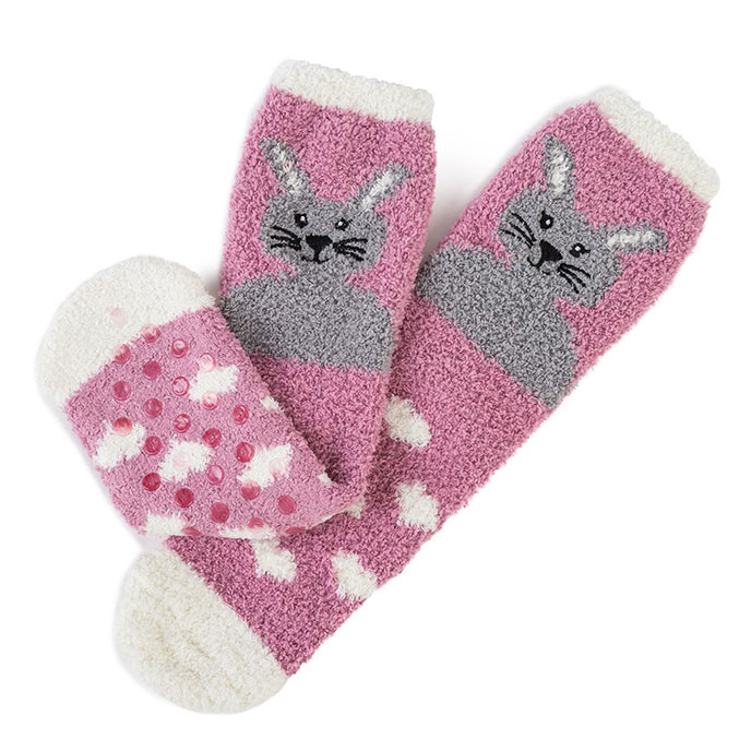 totes Ladies Novelty Cosy Sock Pink Rabbit