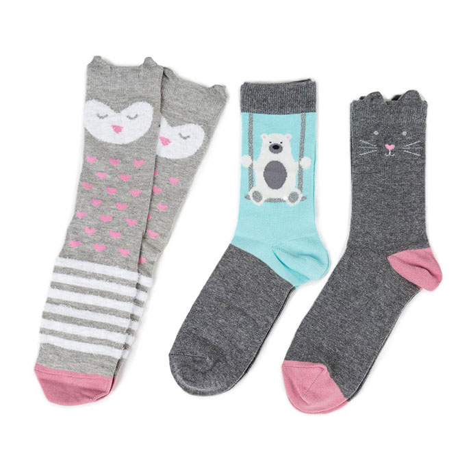 totes toasties Ladies Ankle Socks (Triple Pack) Owl/Cat/Polar Bear