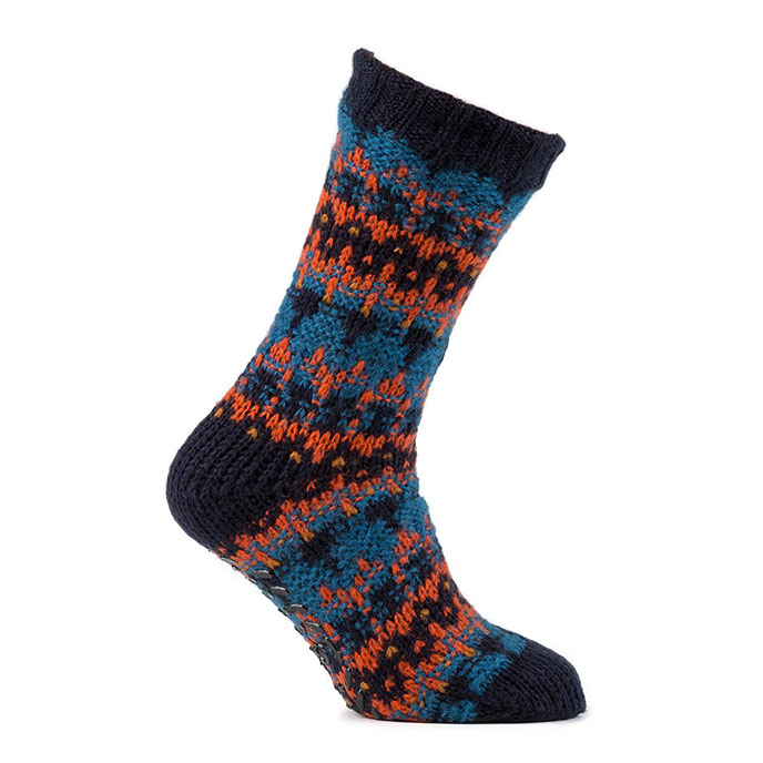 totes Mens Brushed Fairisle Socks Orange/Blue