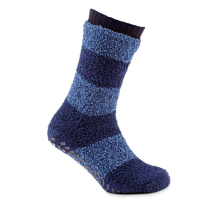 totes toasties Mens Striped Supersoft Sock Blue