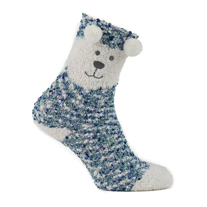 totes Ladies Cosy & Popcorn Socks (Twin Pack) Aqua/Cream