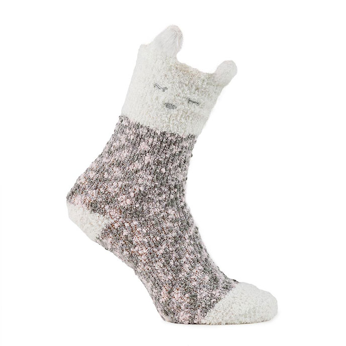 totes Ladies Cosy & Popcorn Socks (Twin Pack) Pink/Cream