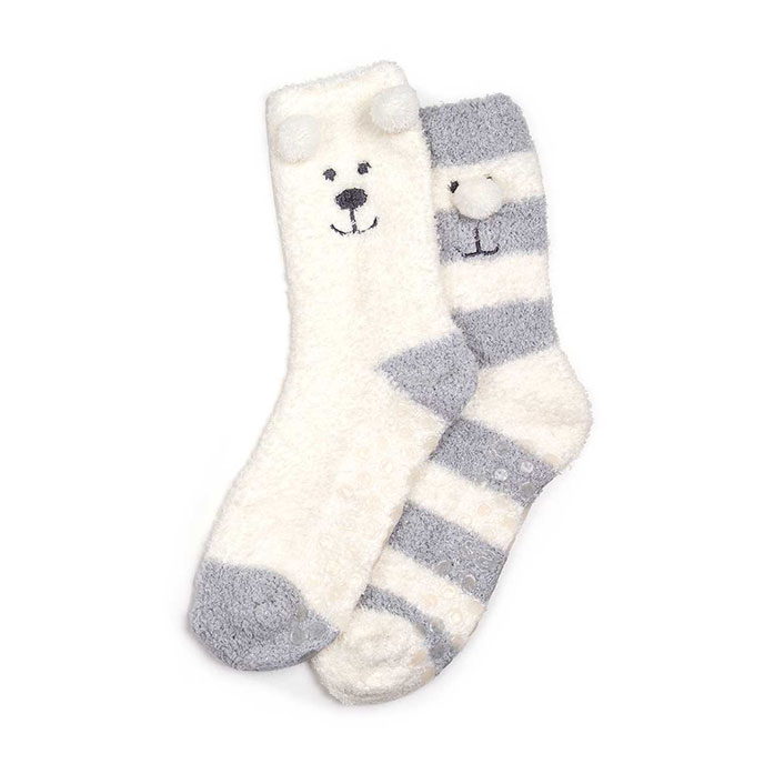 totes Ladies Supersoft Slipper Socks (Twin Pack) Cream