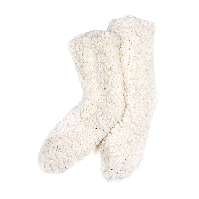 totes Ladies Soft Fluffy Sequin Bedsocks Cream