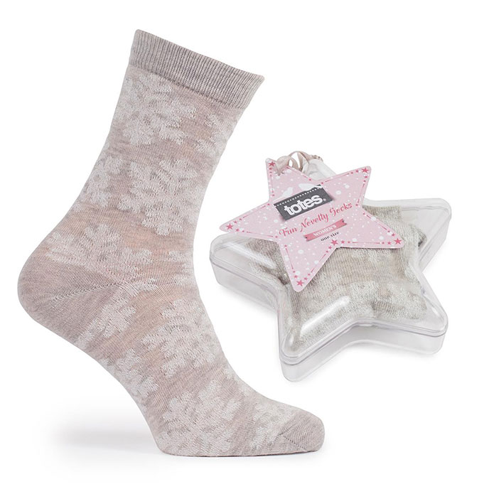 totes Ladies Socks In Bauble Snowflake