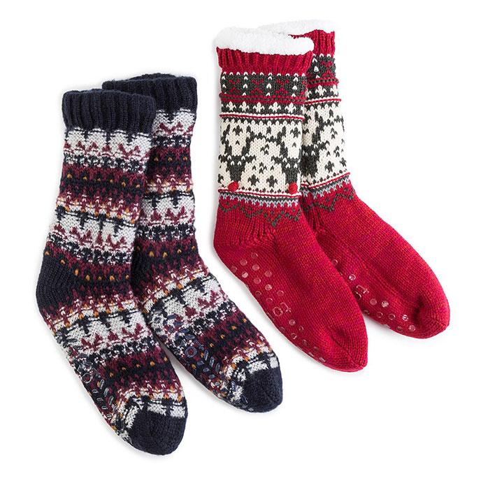 0996b3cae totes Mens Chunky Knit Fair Isle Slipper Socks | totes ISOTONER