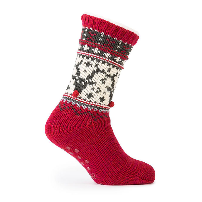 totes Mens Chunky Knit Fair Isle Slipper Socks Red Reindeer