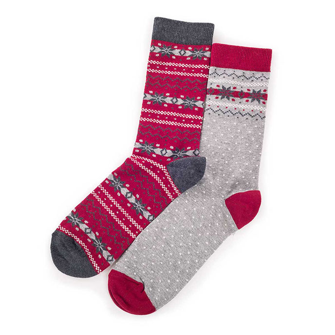 totes Mens Cracker Socks (Twin Pack) Berry Fairisle