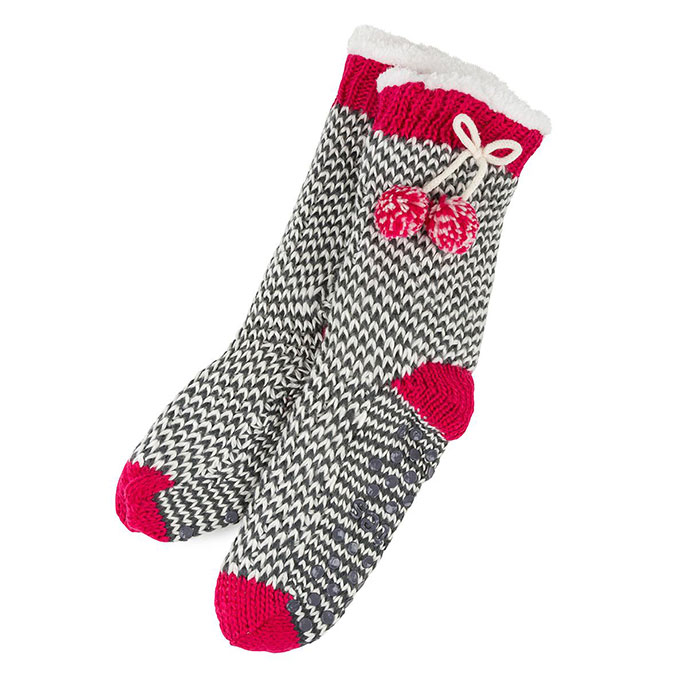 totes Ladies Chunky Knit Slipper Socks  Red & Cream One Size