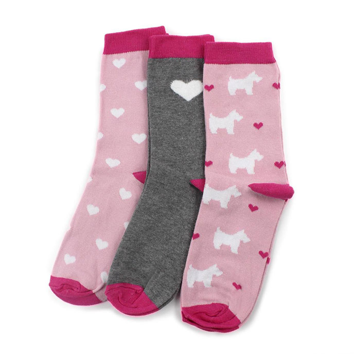 totes Ladies Ankle Socks (Triple Pack) Pink Heart Scottie