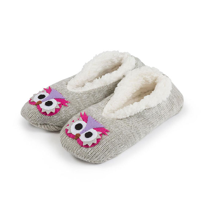totes Girls Novelty Footsie with Shirpa Lining Owl