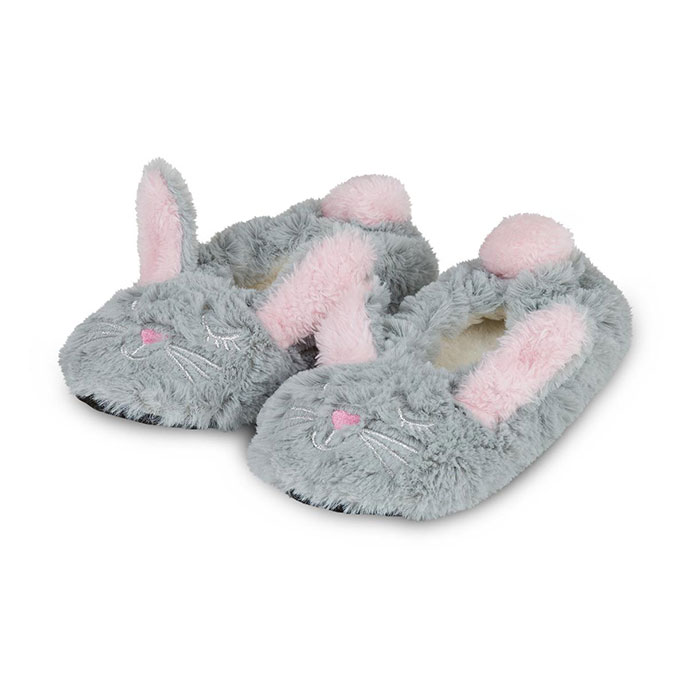 totes Childrens Rabbit Fur Footsie Grey Rabbit