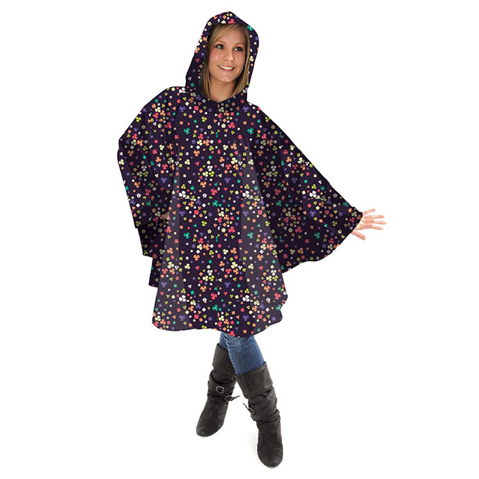 totes Fabric Poncho with Pocket Multi Ditsy Floral Print