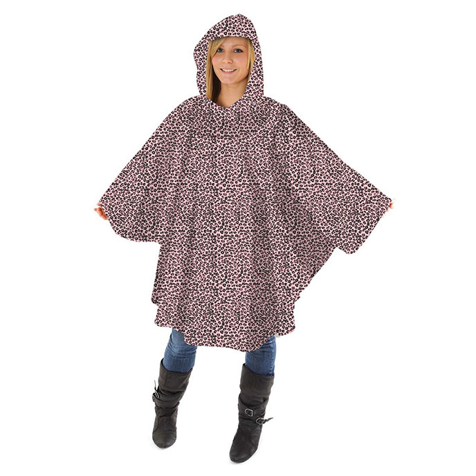 totes Fabric Poncho with Pocket Pink Leopard Print