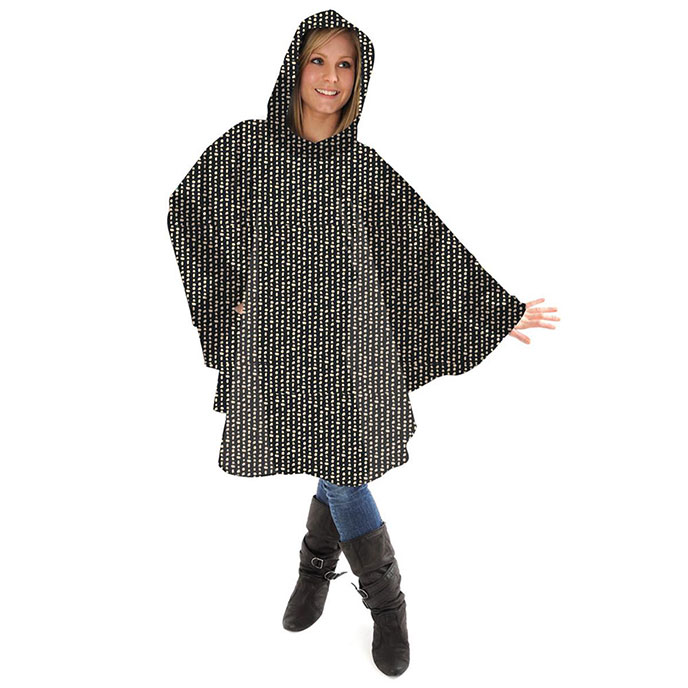totes Fabric Poncho with Pocket Dot & Dash Print