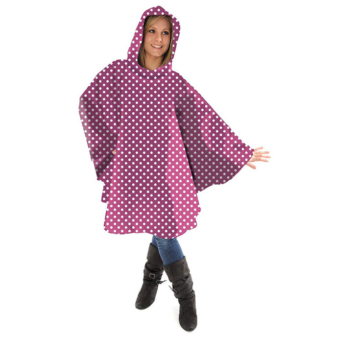 totes Fabric Poncho with Pocket Raspberry & Pink Dots