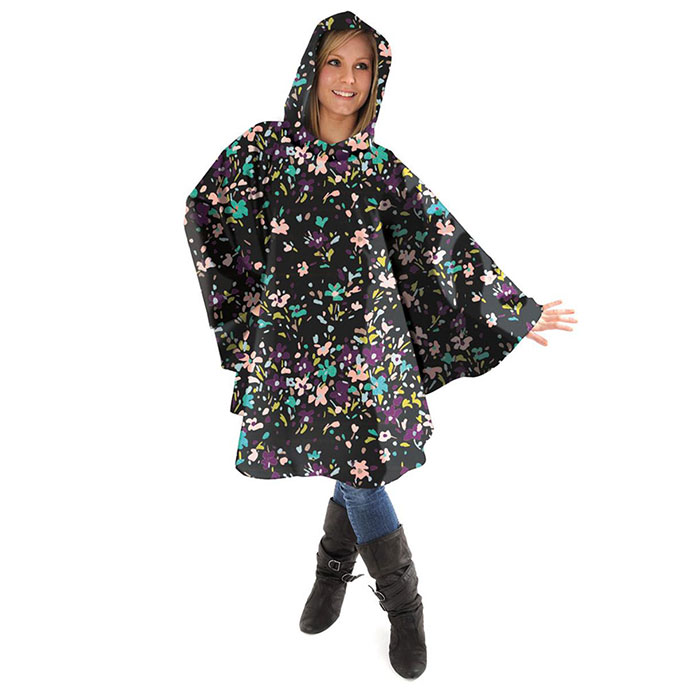totes Fabric Poncho with Pocket Painted Floral