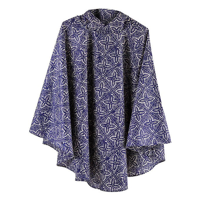 totes Fabric Poncho with Pocket Batik Print