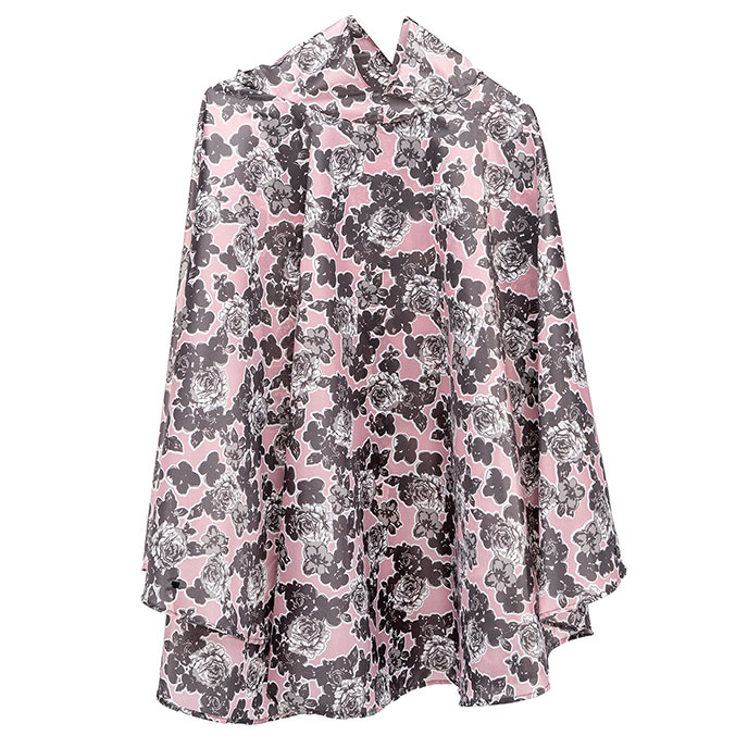 totes Fabric Poncho With Separate Pocket Pink Rose Outline