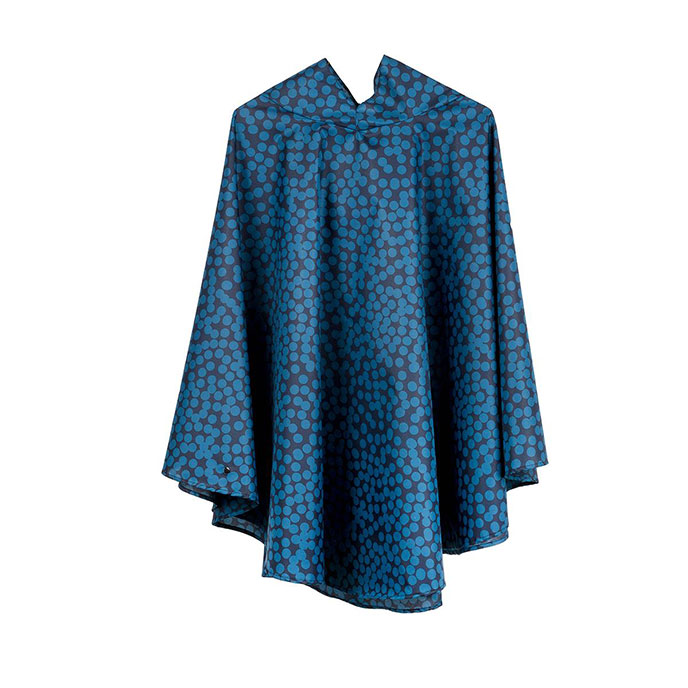 totes Fabric Poncho with Pocket Blue Speckle Dot Print