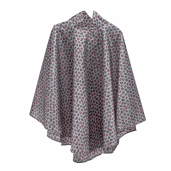 totes Fabric Poncho with Pocket Big Coral Leopard