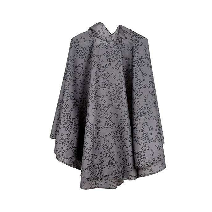 totes Fabric Poncho With Separate Pocket Grey Tonal Leopard Print