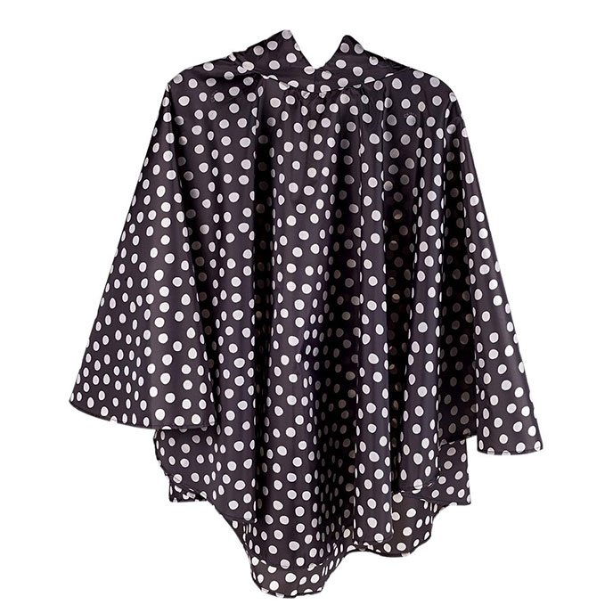 totes Fabric Poncho with Pocket Cream & Charcoal Painted Dot
