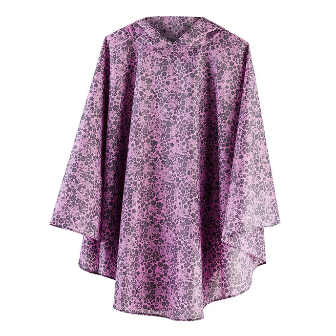 totes Fabric Poncho with Pocket Lilac Ditsy Print