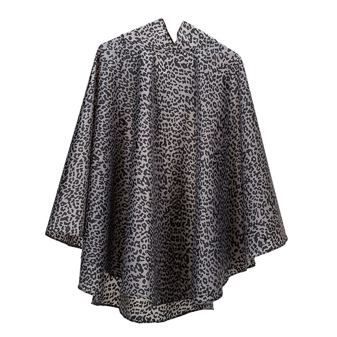 totes Fabric Poncho with Pocket Taupe Leopard Print