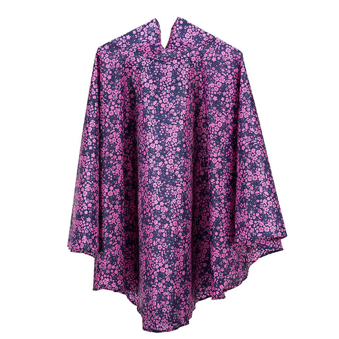 totes Fabric Poncho with Pocket Navy Ditsy Floral Print