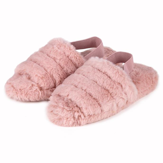 totes Ladies Faux Fur Slingback Slippers Pink