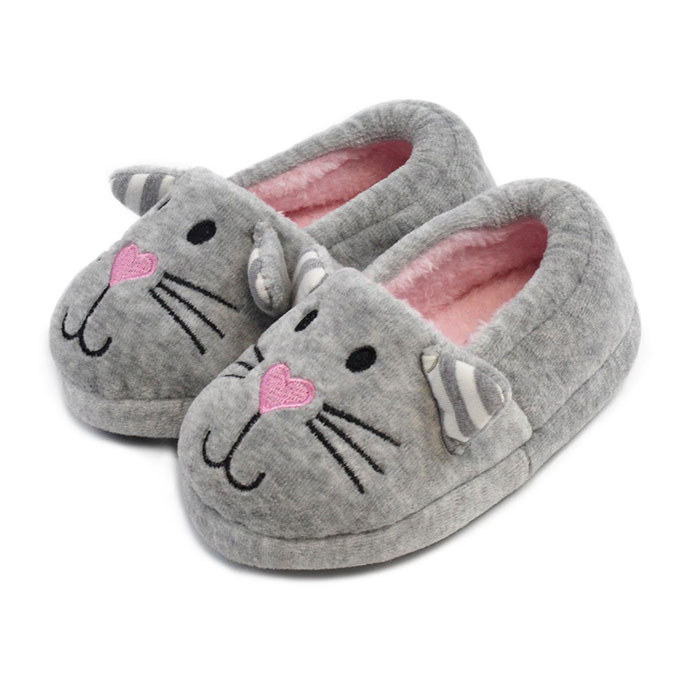 totes Childrens Novelty Velour Cat Slippers Cat