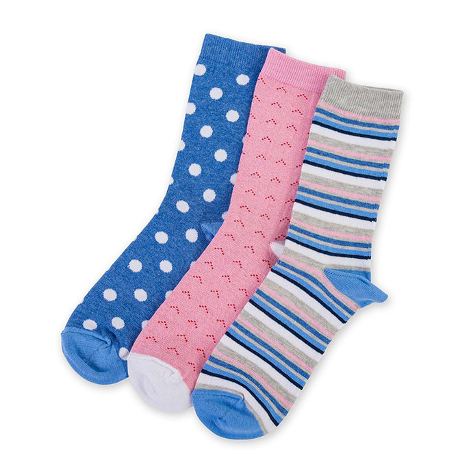 totes Waterfall 3 Pack Untreaded Ankle Socks Blue One Size
