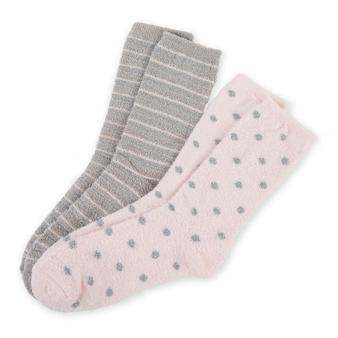 totes Chenille Lounge Socks Pink/Grey