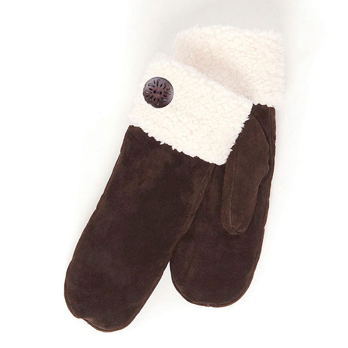 isotoner Sherpa Cuff Mitten with Button Chocolate