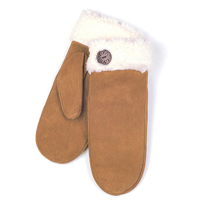 isotoner Sherpa Cuff Mitten with Button Tan