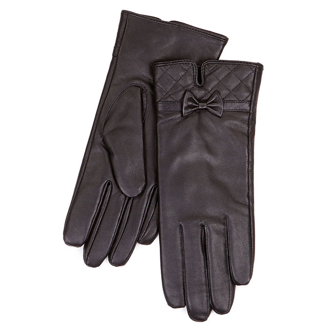 Isotoner Quilted Cuff Detail Leather Gloves Black