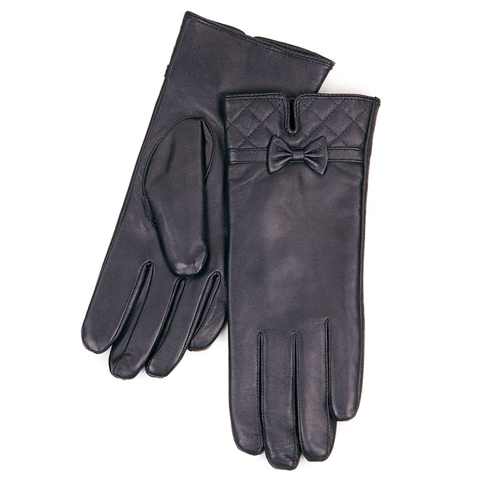 Isotoner Quilted Cuff Detail Leather Gloves Navy
