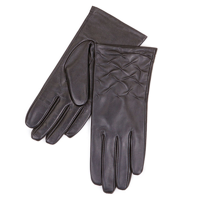 Isotoner Rouched Leather Smartouch Gloves Black