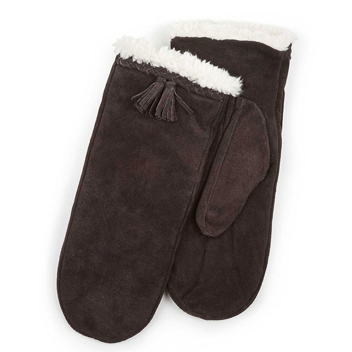 Isotoner Ladies Plait & Tassel Suede Mittens  Chocolate